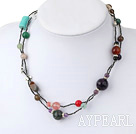 Popular Multi Color Mixed Stone Hand-Threaded Strand Necklace With Lobster Clasp