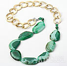 Green Color Burst Pattern Crystallized Agate Knotted Necklace with Golden Color Metal Chain ( The Chain Can Be Deducted )