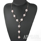 Fashion Loop Chain Garnet And Flat Round Rose Quartz Y Shape Pendant Necklace