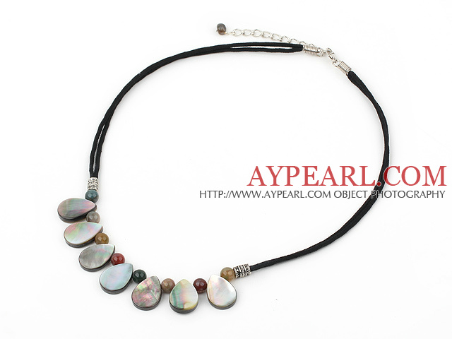 Fashion Colorful Round Indian Agate And Drop Shape Black Shell Necklace With Black Cords