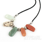 colorful stone necklace with extendable chain