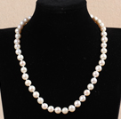 Hot Sale Women Gift A Grade 8.5-9mm Natural White Freshwater Pearl Necklace With Heart Clasp