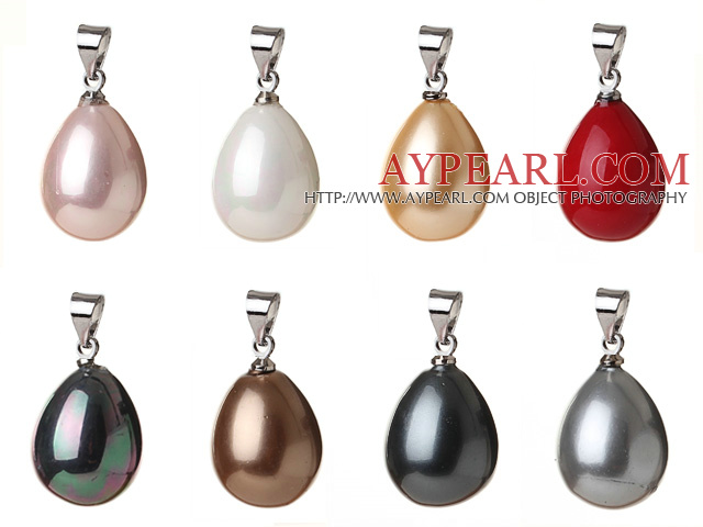 8 pcs Lovely Summer Design Drop Shape Multi Color Seashell Pearls Pendant(no chain)