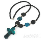 black pearl phoenix stone necklace with phoenix cross pendant