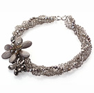 Harmaa sarja Multi Strands Gray Pearl Crystal ja Gray Shell Kukka Party kaulakoru