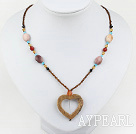 Fashion Rainbow Jasper And Multi Color Crystal Hollow-Heart Pedant Necklace