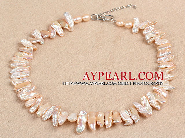 Gorgeous Party Style Natural Pink Teeth Shape Rebirth Pearl Necklace