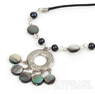cute pearl and black lip shell necklace with extendable chain