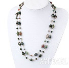 Fashion Long Style Round Colorful Indian Agate Charm Strand Necklace, Sweater Necklace