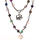 Wholesale Beautiful Long Style Multi Stone Woven Necklace with Elephant And Cross Pendant(Random Stone Color)