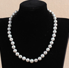 Hot Sale Women Gift 10-11mm Natural Gray Pearl Necklace With Heart Clasp