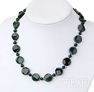 Nice Black Freshwater Pearl And Irregular Shape Indian Agate Strand Necklace With Moonight Clasp