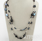 Beautiful Long Coin Pearl And Faceted Black Agate Crystal Wired Strand Necklace