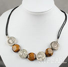 Wholesale flat round tiger eye tibet silver necklace with extendable chain