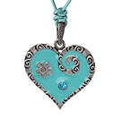 Vintage Simple Design Heart Shape Tibet Silver Pendant Necklace With Green Leather And Turquoise Clasp