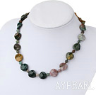 Fashion Colorful Indian Agate Beaded Strand Necklace With S Clasp Extendable Chain