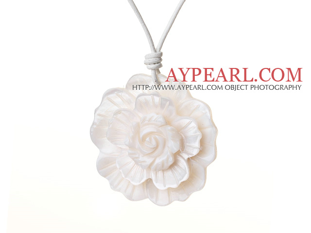 Delicate Beautiful White Shell Flower Pendant Necklace With White Leather And Lobster Clasp