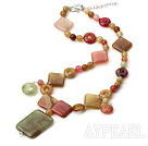 Natural Beautiful Three Color Jade Necklace With Large Square Pendant