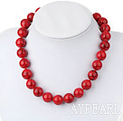 Single strand red bloodstone beaded necklace