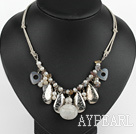 Fashion White Freshwater Pearl Agate And White Turquoise Metal Charm Necklace