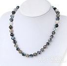Popular Faceted Mixed Color Burst Pattern Agate Beaded Strand Necklace With Moonight Clasp