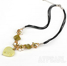 Wholesale pearl crystal lemon jade necklace with extendable chain