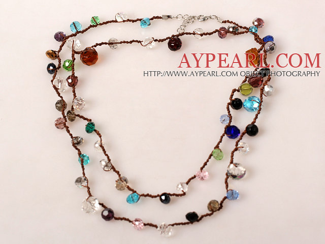 Long Style Multi Color Crystal Hand Knotted Necklace