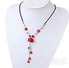Simple Style Red Coral Hand Chain Pendant Necklace With Black Cord