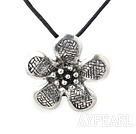 Lovely Fan Shape Tibet Silver Metal Pendant Necklace With Black Cords