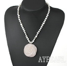 Elegant 7-8Mm White Freshwater Pearl And Rose Quartz Flower Pendant Necklace With Toggle Clasp