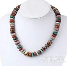 Elegant Disc Shape Multi Color Marine Agate Graduated Strand Necklace
