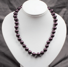 12mm Dark Purple Color Round Glass Pearl Beads Choker Necklace Jewelry
