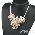 Wholesale Elegant style smaller gray pearl shell flower necklace