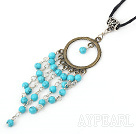 Fashion Round Blue Turquoise Link Bronze Looped Tibet Silver Tube Pendant Necklace With Black Cord