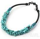 Wholesale 6*8mm turquoise chips beaded necklace