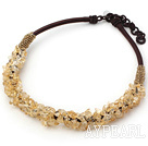 Wholesale 6*8mm citrine chips beaded necklace
