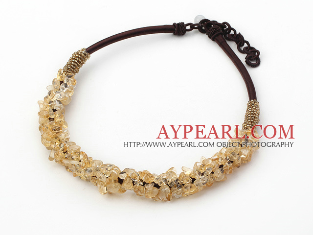 Fashion 6*8Mm Citrine Chips Beaded Thick Brown Leather Loop Chain Necklace