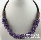 Fashion 6*8Mm Cluster Style Amethyst Chips Necklace With Loop Velvet Ropes