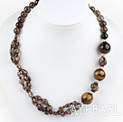 Wholesale smoky quartze tiger eye necklace with lobster clasp
