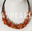 Beautiful 6*8Mm Red Agate Chip Beads Necklace With Black Tube Leather