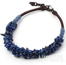 Fashion 6*8Mm Laips Chips Beaded Thick Brown Leather Loop Chain Necklace