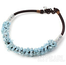 Fashion Aquamarine Chips Beaded Necklace With Thick Brown Cords