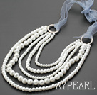fashion multi strand white shell beads necklace