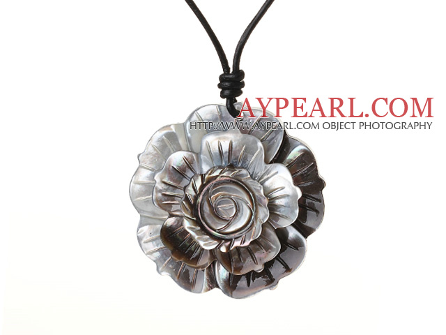 Delicate Beautiful Black Shell Flower Pendant Necklace With Black Leather And Lobster Clasp