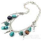 Wholesale turquoise metal chain necklace with cross