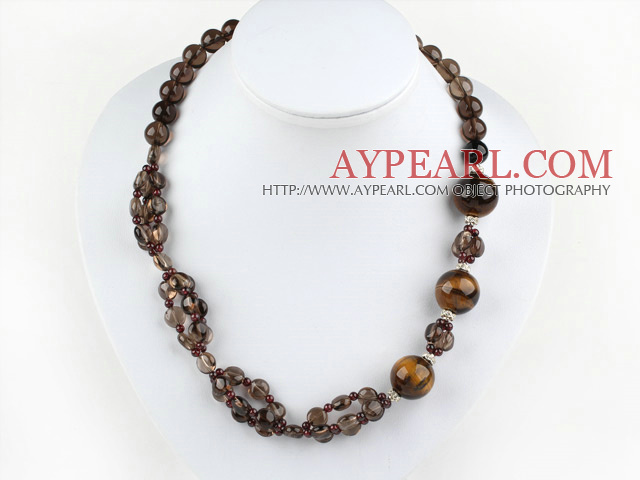 smoky quartze tiger eye necklace with lobster clasp