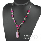 Wholesale pink agate necklace with extendable chain