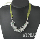 Wholesale white crystal aventurine necklace with ribbon