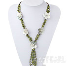 bridal jewelry fashion white pearl olive stone necklace with shell flower
