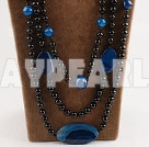 Wholesale big hit blue and black agate necklace